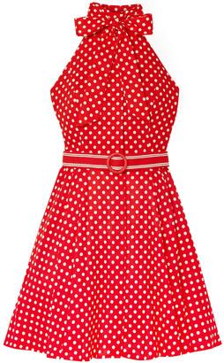 Zimmermann Zinnia Polka-dot Linen And Cotton-blend Voile Halterneck Mini Dress
