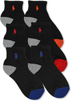 Ralph Lauren Boys' or Little Boys' 6-Pack Color-Blocked Quarter Socks