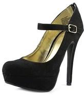Material Girl Koko Women Open Toe Canvas Black Platform Heel.