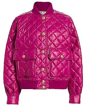 Gucci Women's Padded Leather Quilted Bomber Jacket