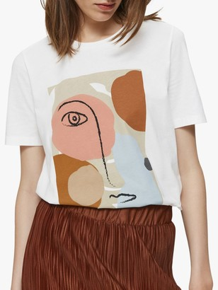 Selected Abstract Print Cotton T-Shirt, Bright White