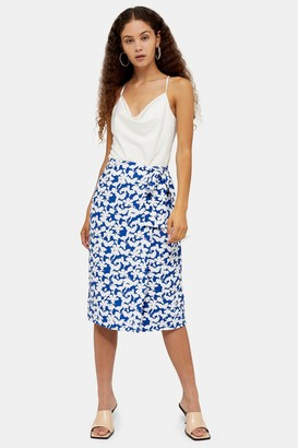 Glamorous Womens **Blue And White Floral Block Skirt By Blue