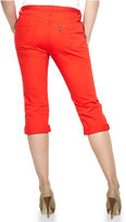 Levi's Jeans, 515 Straight-Leg Belted Cuffed Capri, Hot Red Wash