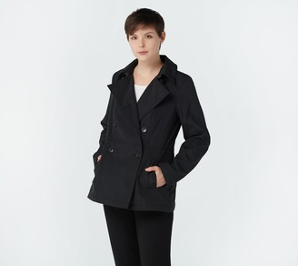 Dennis Basso Water-Resistant Double-Breasted Short Trench
