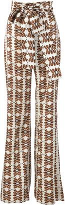 Silvia Tcherassi Polianthus Satin Straight-Leg Pants