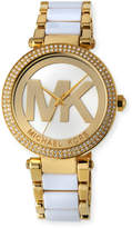 MICHAEL Michael Kors 39mm Parker Glitz Bracelet Watch, Yellow Golden/White