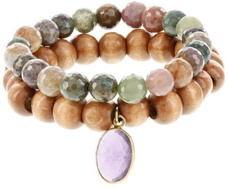 Fox and Baubles Jasper and Wood with Amethyst Charm Stretch Bracelets