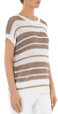Peserico Striped Knit Short-Sleeve Sweater