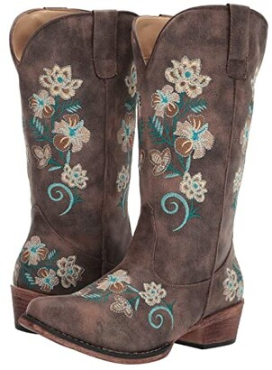 Roper Riley Floral (Vintage Brown Faux Leather) Cowboy Boots