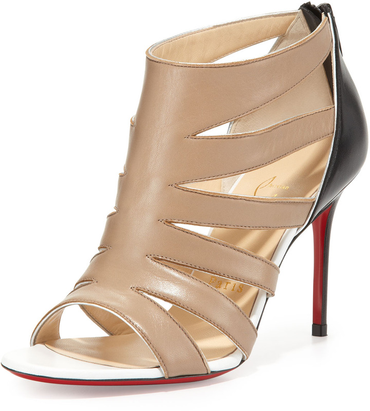 Christian Louboutin K Red-Sole Cage Sandal, Beige
