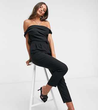 ASOS DESIGN Petite fallen shoulder chiffon jumpsuit in black
