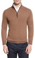 Neiman Marcus Nano-Cashmere 1/4-Zip Pullover, Barley