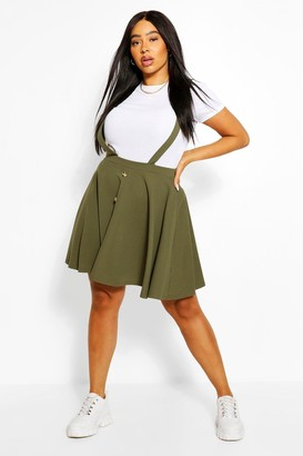 boohoo Plus Button Front Pinafore Skirt