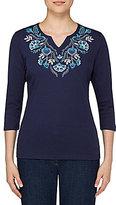 Allison Daley Notch V-Neck Floral Embroidered Knit Top