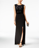 Night Way Nightway Petite Velvet-Trim Lace Gown