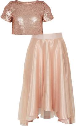 River Island Girls Gold sequin organza skirt outfit