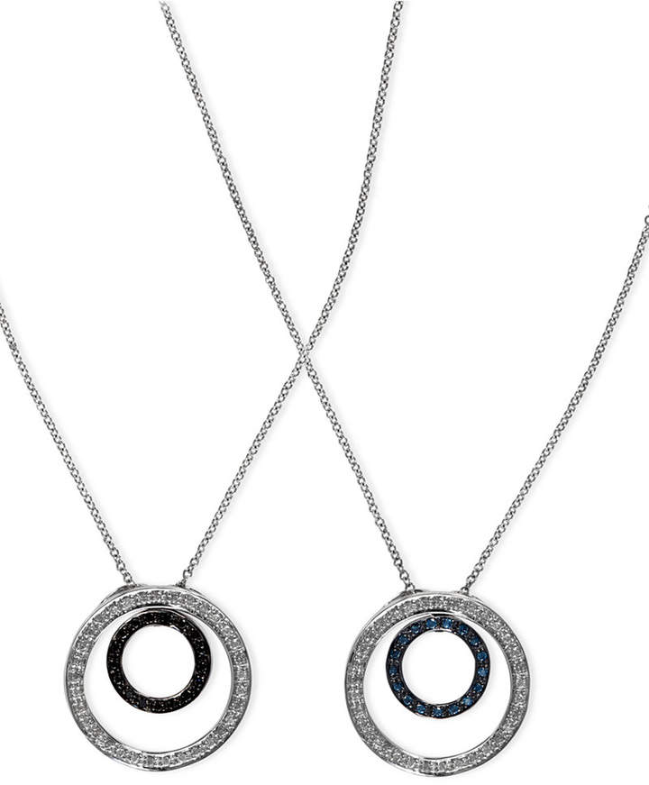 Effy Diversa by Blue and Black Diamond Reversible Pendant (1/3 ct. t.w.) in 14k White Gold