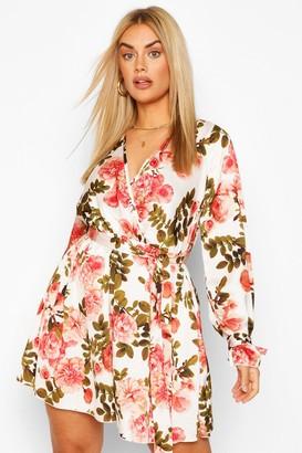 boohoo Plus Floral Wrap Tie Waist Skater Dress