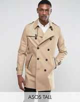 Asos TALL Shower Resistant Double Breasted Trench In Stone