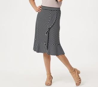 Denim & Co. Striped Jersey Skirt with Ruffle and Flounce Hem
