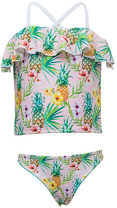 Snapper Rock Girls' Bikini Bottoms - Yellow & Green Tropicana Frilled Tankini - Toddler & Girls