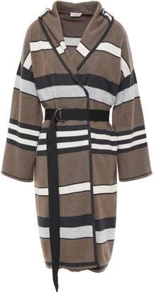 Brunello Cucinelli Belted Embellished Striped Cashmere Hooded Cardigan