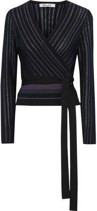 Diane von Furstenberg Laren Metallic Ribbed-knit Wrap Top