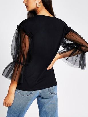 River Island Mesh Sleeve Love More T-shirt - Black