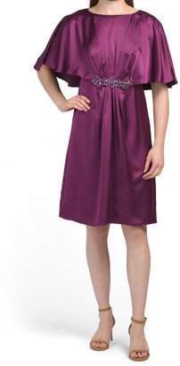Satin Capelet Dress With Beading