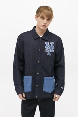 Champion NY Mets Denim Coach Jacket - Blue XL at Urban Outfitters