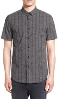 Topman Trim Fit Short Sleeve Print Shirt