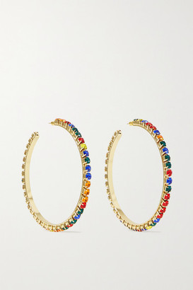 Area Gold-tone Crystal Hoop Earrings