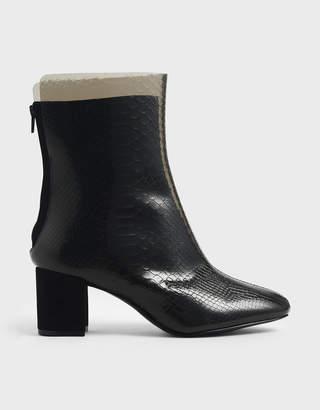 Charles & Keith Snake Print See-Through Effect Block Heel Calf Boots