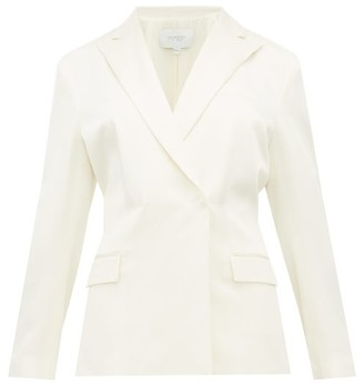 Giambattista Valli Double-breasted Shirred-back Satin Blazer - Ivory