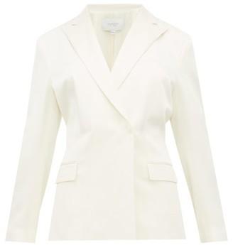 Giambattista Valli Double-breasted Shirred-back Satin Blazer - Womens - Ivory