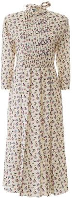Prada Pleated Floral Print Dress