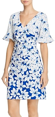 Adrianna Papell Ruched Lily Print Dress