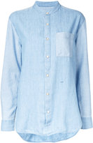 Closed mandarin neck denim shirt - women - Cotton/Linen/Flax/Lyocell - S