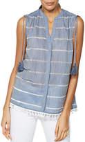 Mint Velvet Chambray Stripe Blouse, Light Blue