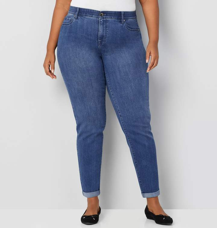 Avenue Plus Size Ultimate Fit Straight Jean In Medium Wash