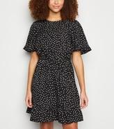 New Look Spot Frill Tie Waist Mini Dress