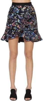 Self-Portrait Self Portrait Floral Embellished Mini Skirt W/ Ruffles