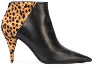 Saint Laurent Kiki 85mm leopard print boots