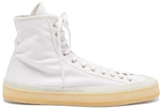 Lemaire Crepe-sole Canvas High-top Trainers - Mens - White