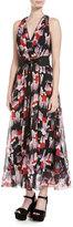 Marc Jacobs Geo-Spot Silk Georgette Midi Dress, Black Pattern