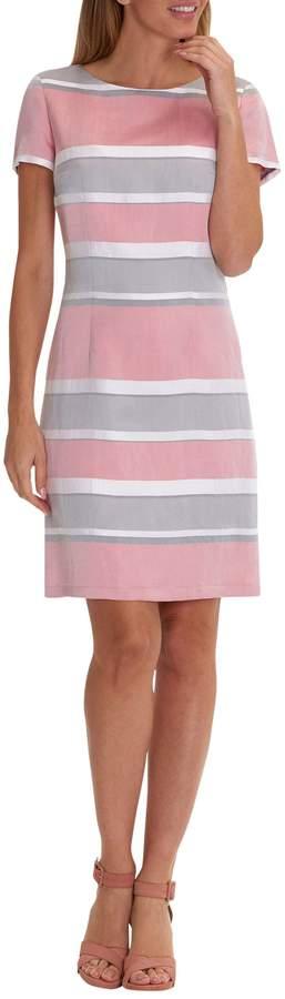 Betty Barclay Striped Satin Shift Dress, Pink/Grey