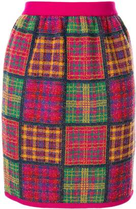 Saint Laurent Pre-Owned checked plaid knitted skirt