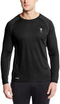 U.S. Polo Assn. Men's Paneled Long Sleeve Raglan Micro Mesh Crew