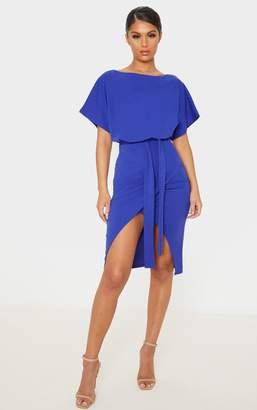 PrettyLittleThing Cobalt Wrap Front Kimono Sleeve Midi Dress