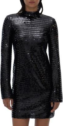 Helmut Lang Sequins Long-Sleeve Mini Dress